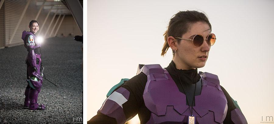 Alicia in her Spartan Armor BTS, MegaCon